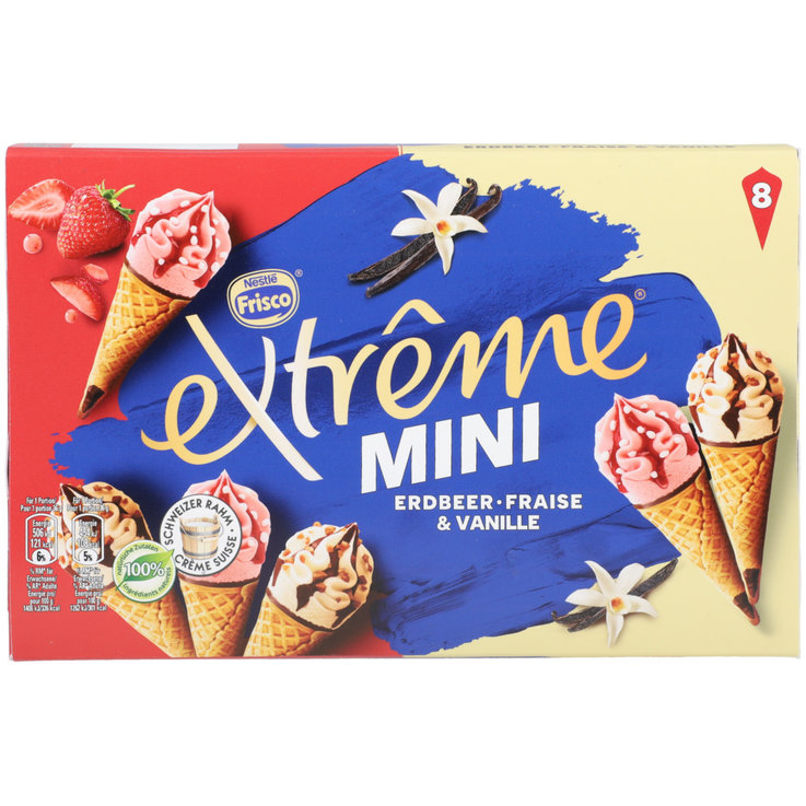 Ice Cream Cones - Frisco Extrême Mini Vanilla Strawberry Ice Cream Cones 8 Pieces