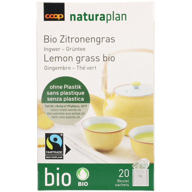 Green Tea & White Tea - Naturaplan Bio Fairtrade Lemongrass Green Tea 20 Bags