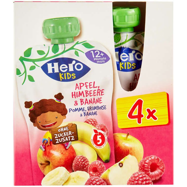 Smoothies - Hero Kids Smoothie Beutel Apfel, Himbeer & Banane 12+ Monate 4x120g