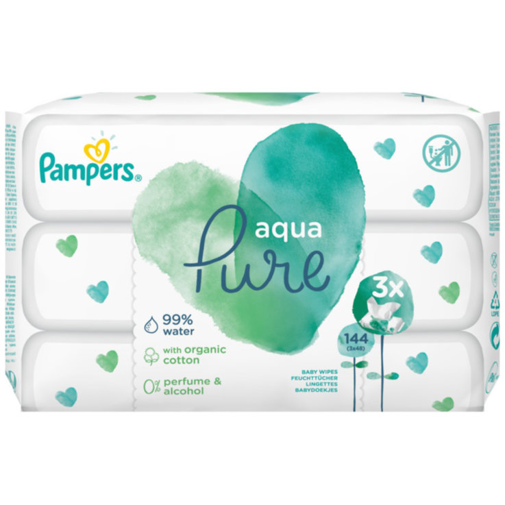 Wet Wipes - Pampers Aqua Pure Wet Wipes 3x48 Pieces