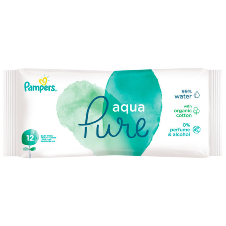 Wet Wipes - Pampers Travel Aqua Pure Wet Wipes 12 Pieces