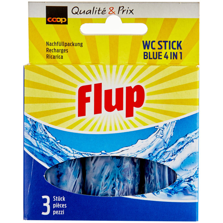 Toilet Rim Blocks - Flup 4 in 1 Bleu WC Cleaning Sticks 3 Pieces