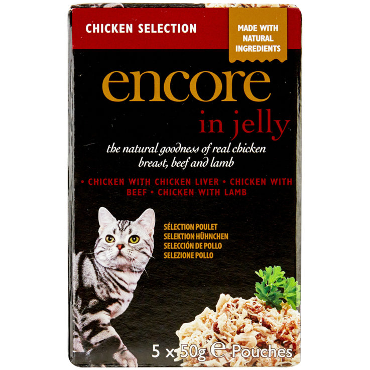 Nassfutter - Encore Cat Huhn Multipack Pouch in Gelee 5x50g   .