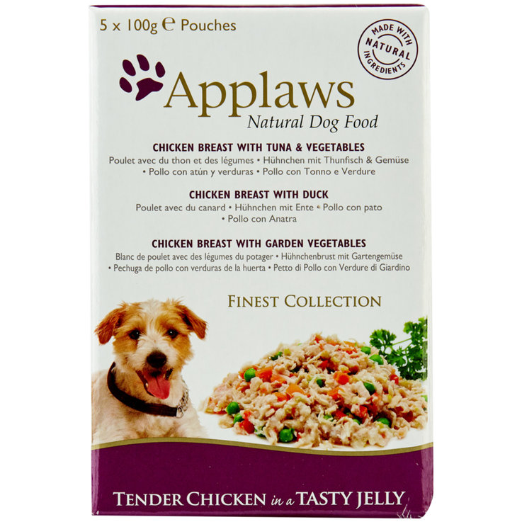 Wet Food - Applaws Finest Tuna & Vegetable Dog Food in Gelee 5x100g