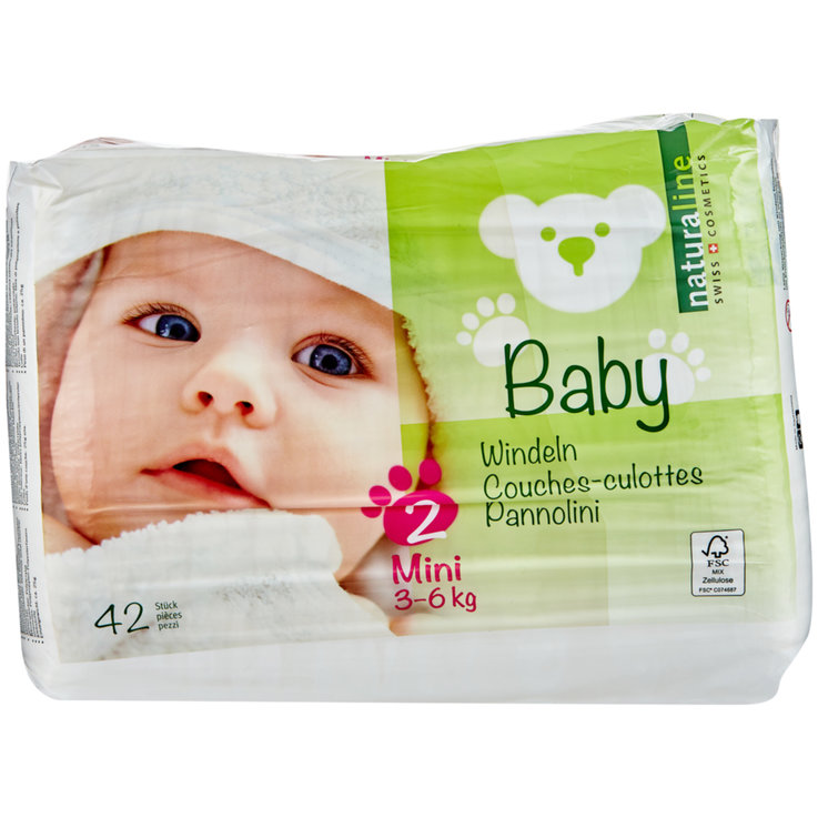 2 - 9 kg - Naturaline Baby Mini nappies, size 2, 3-6 kg, 42 nappies