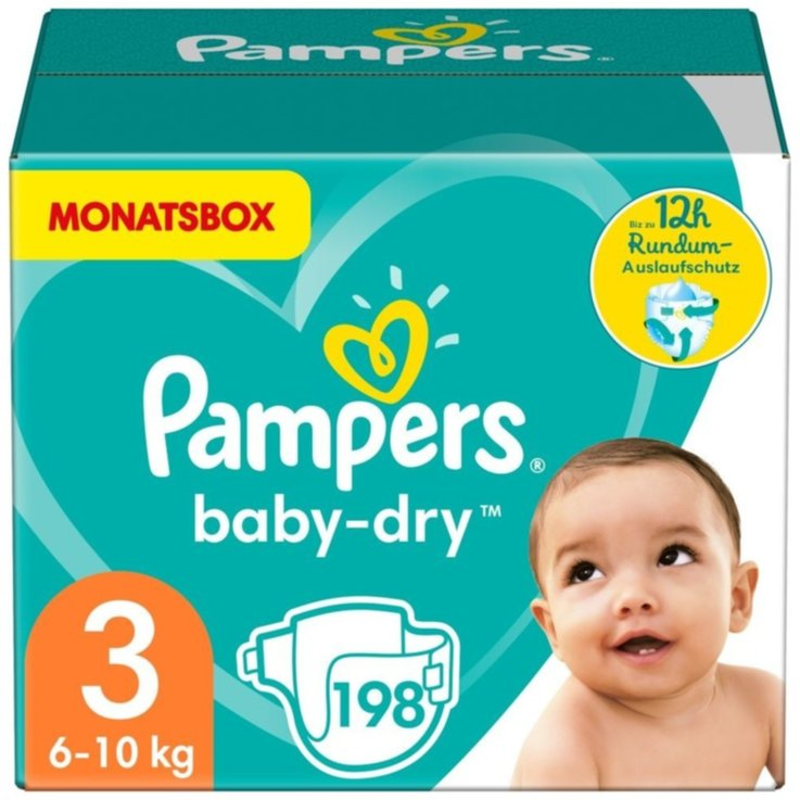 7 - 20 kg - Pampers Baby Dry 3 Midi Diapers 6-10kg 198 Pieces