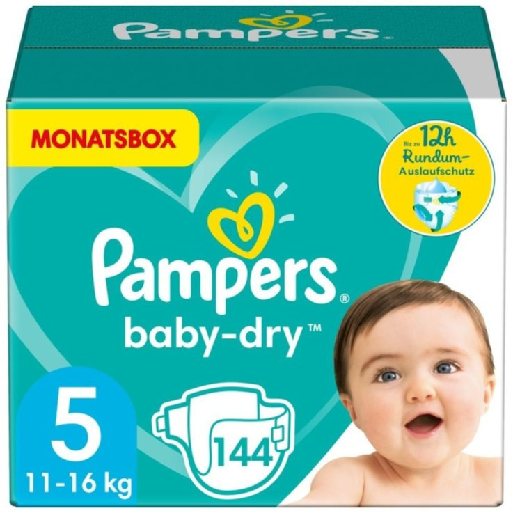 11 - 27 kg - Pampers Couches Baby Dry Gr.5 Junior 11-16kg 144 pièces