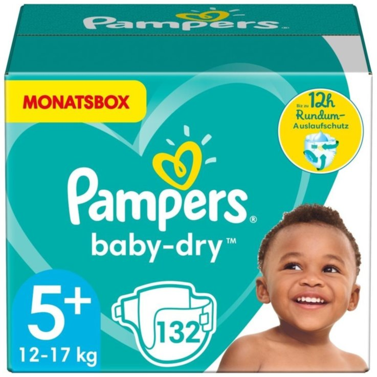 11 - 27 kg - Pampers Baby Dry 5+ Junior+ Diapers 12-17kg 132 Pieces