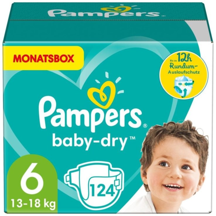 11 - 27 kg - Pampers Diapers Baby Dry Extra Large size 6, 13-18kg, 124 pieces