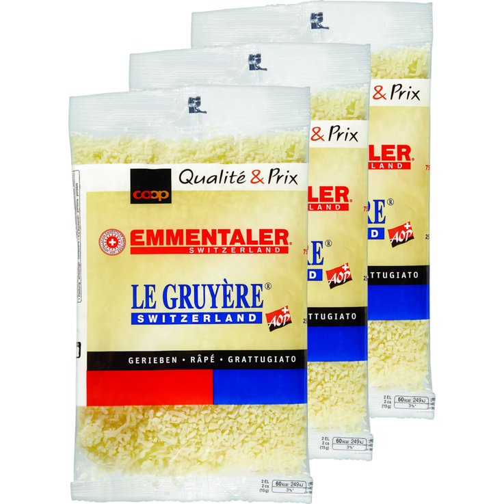 Grated Cheese - Emmentaler & Gruyére Grated Cheese 3x130g
