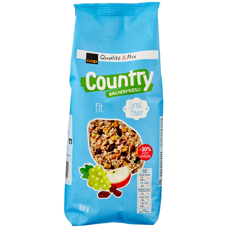 Müesli sans chocolat - Country Barre de birchermuesli Fit