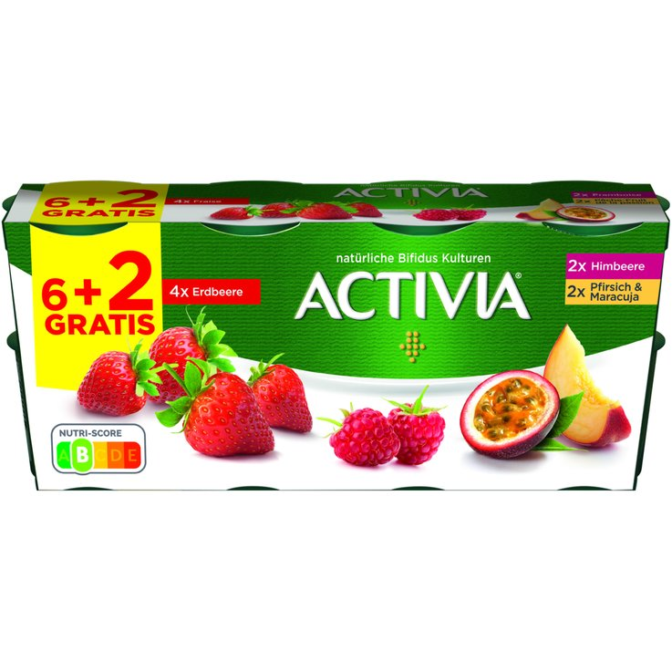 Probiotic Drinks - Danone Activia Assorted Fruit Yogurts 8x115g