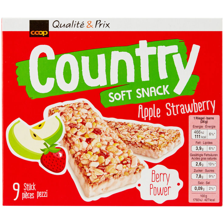 Bars without Chocolate - Country Apple Strawberry Cereal Bars 9 Pieces