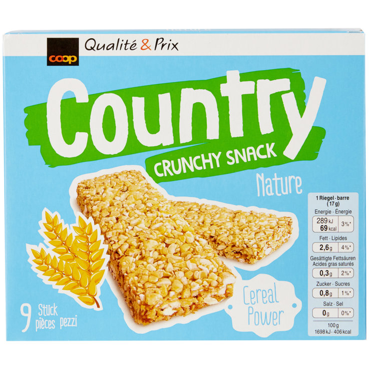 Bars without Chocolate - Country Crunchy Plain Cereal Bars 9 Pieces