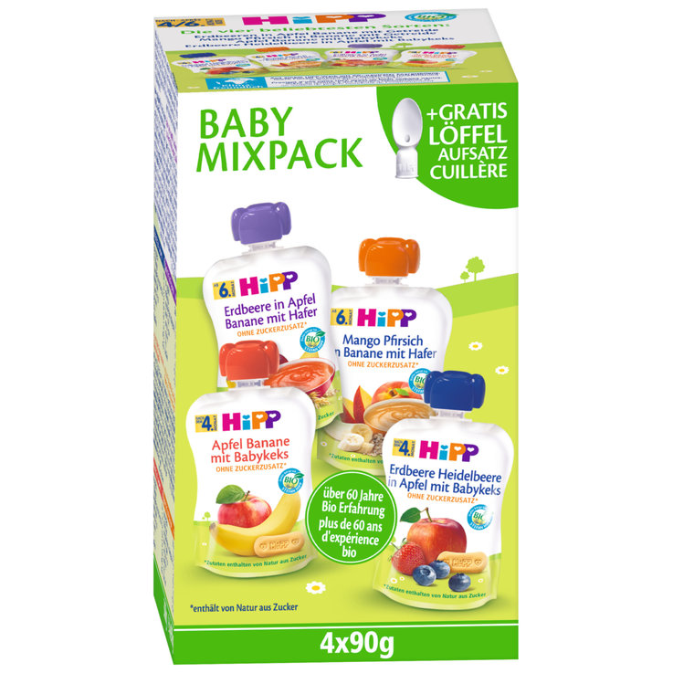 Smoothies - Hipp Baby Assorted Compote Pouches 4x90g 4 Months+