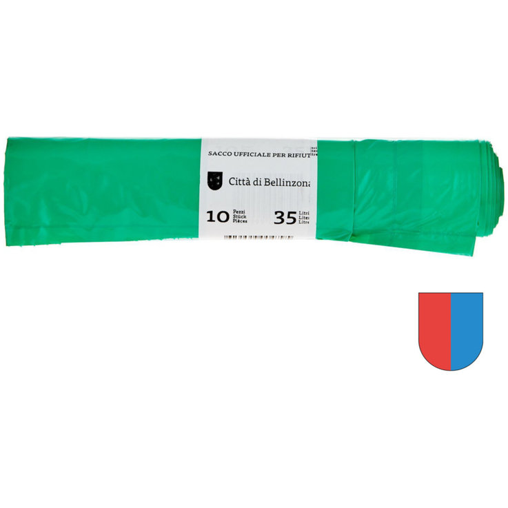 Waste bag charge - Bellinzona Green Taxed Garbage Bags 35 Litres 10 Pieces
