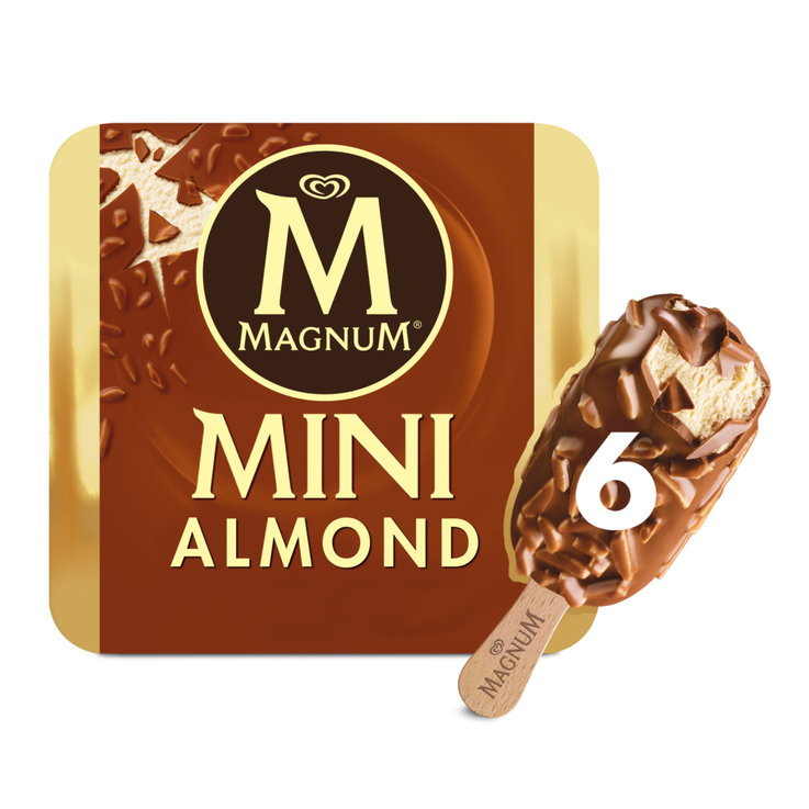 Ice Cream Bars - Magnum Mini Almond Ice Cream Bars 6 Pieces