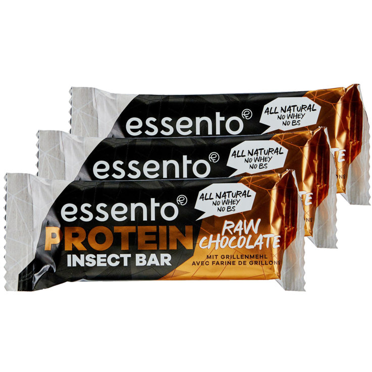 Proteine - Essento Insect Bar Raw Chocolate 3x  35g