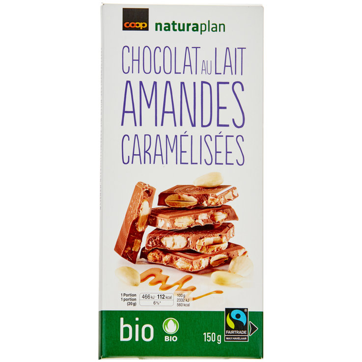 Milk with Nuts - Naturaplan Organic Milk Chocolate Bar with Almonds