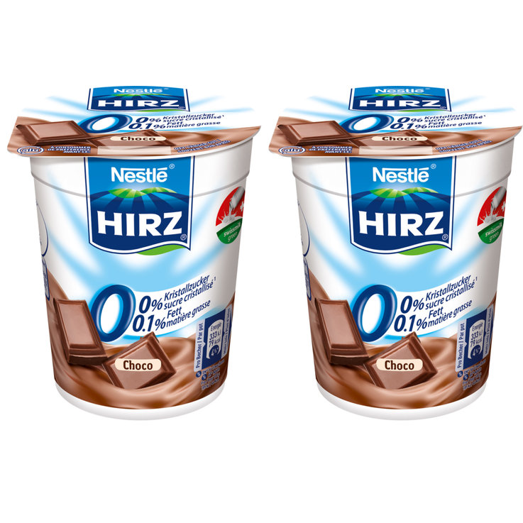 Chocolate & Stracciatella - Hirz Chocolate Yogurts 0.1% Fat 2x180g