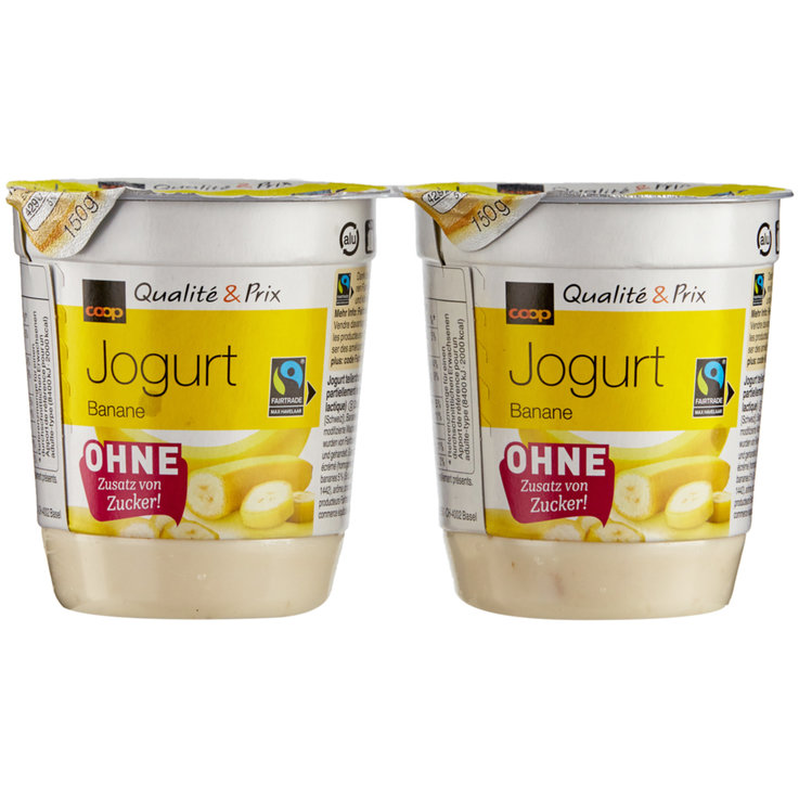 Fruits exotiques & Agrumes - Fairtrade yaourt sans sucre banane 2x150g