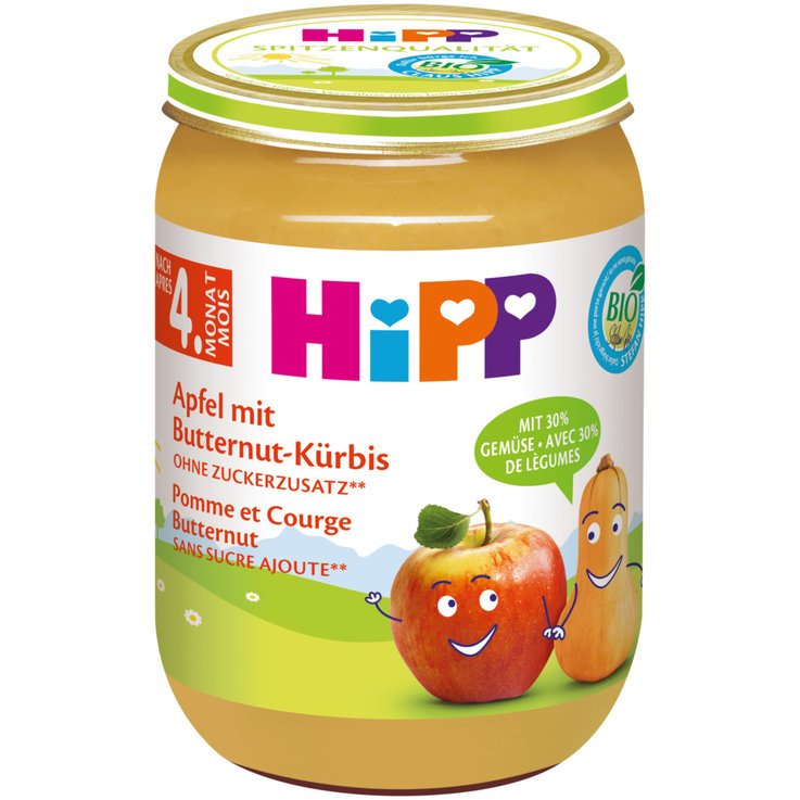 Vegetable Baby Food - Hipp Organic Butternut Squash Apple Compote 4 Months+