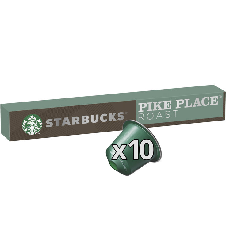 Compatible with Nespresso - STARBUCKS® Pike Place® Roast by NESPRESSO® Medium Roast, 10 capsules