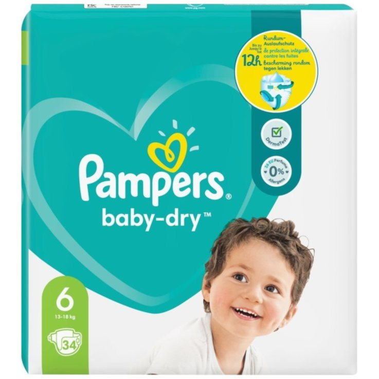 11 - 27 kg - Pampers Baby Dry 6 Extra Large Diapers 13-18kg 34 Pieces