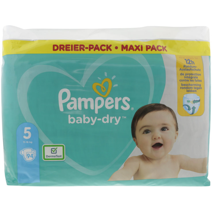 11 - 27 kg - Pampers Diapers Baby Dry Junior size 5, 11-16kg, 94 pieces