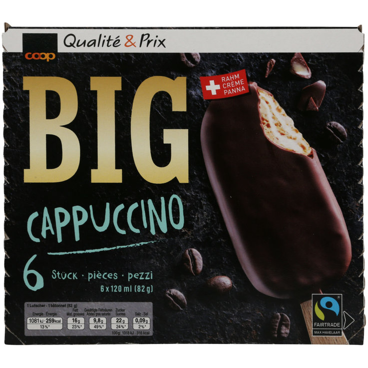 Ice Cream Bars - Big Cappuccino Ice Cream Lollies 6x120ml