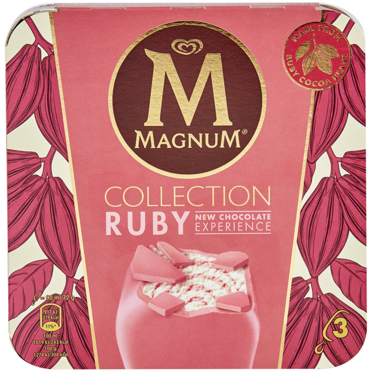 Ice Cream Bars - Magnum Ruby 3x90ml