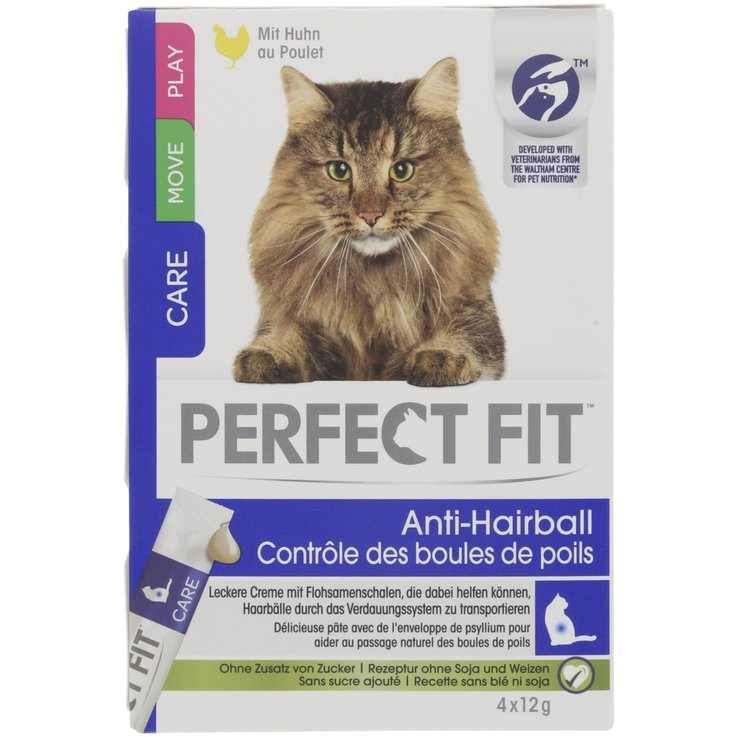 Snacks und Katzenmilch - Perfect Fit Cat Anti-Hairball 4x12g