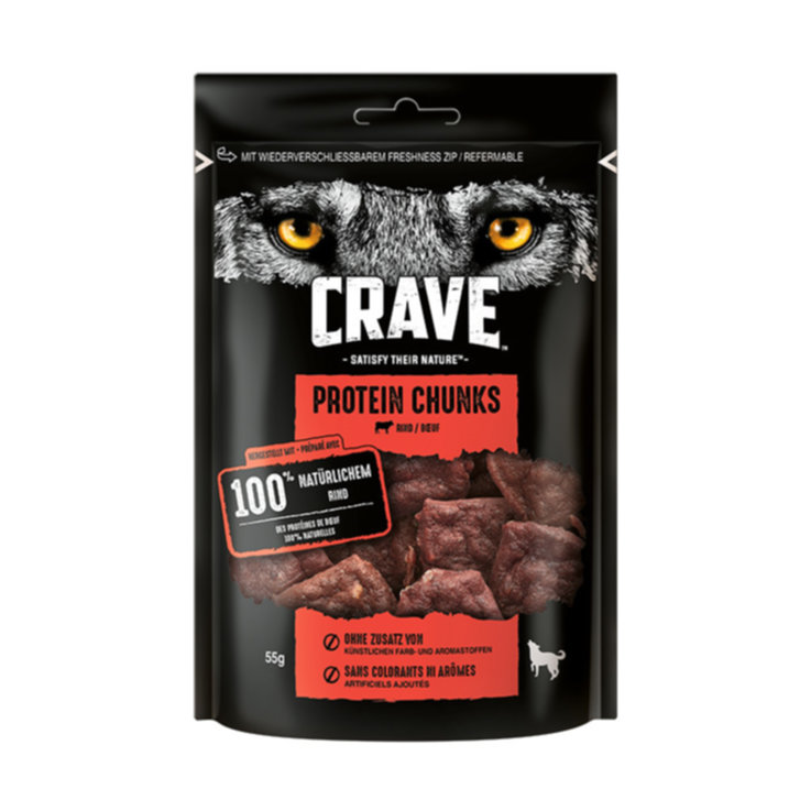 Trockenfutter - CRAVE Dog Protein Chunks Rind 55g