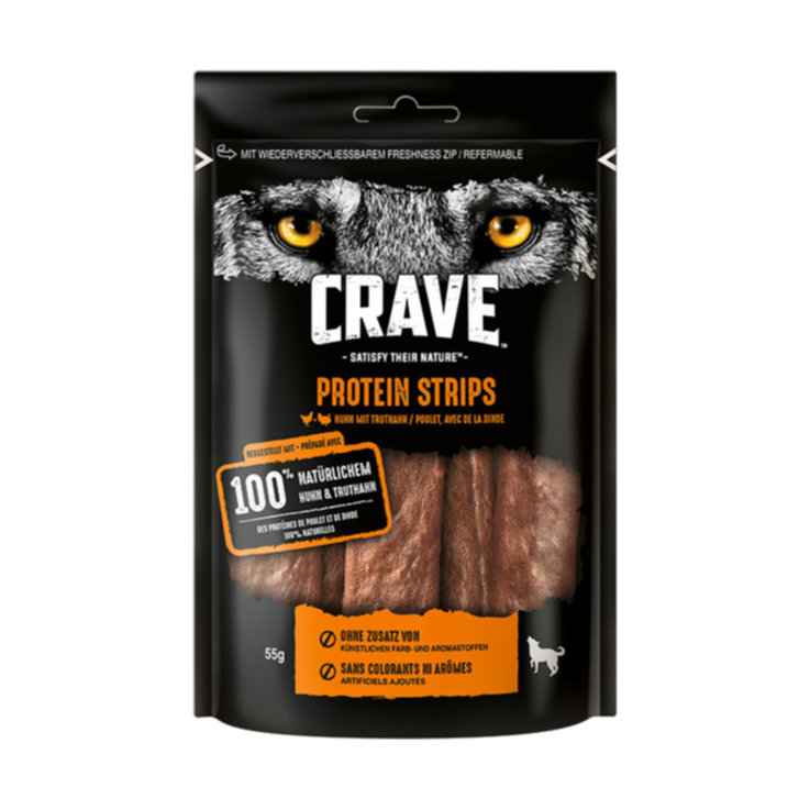 Hundefutter - Crave Dog Protein Strips Huhn Truthahn