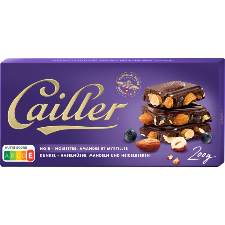 Milk with Nuts - Cailler Dark Chocolate Bar with Blueberries & Hazelnuts