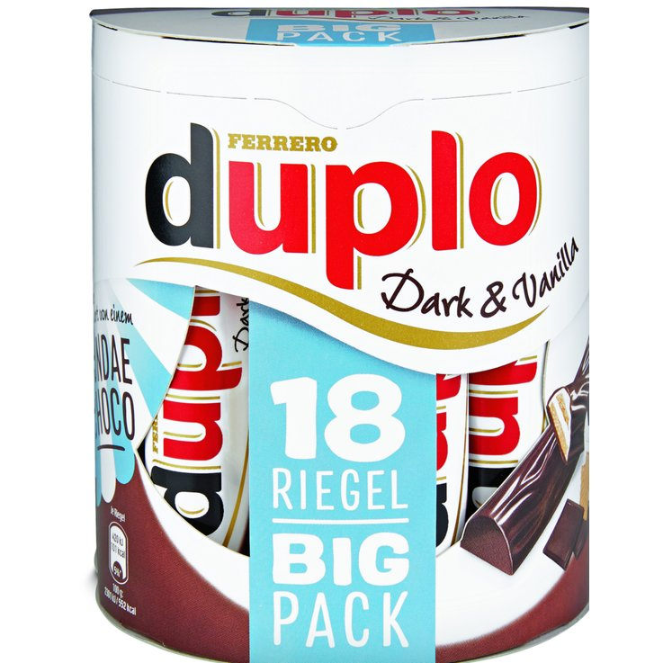 Chocolate Bars - Duplo Vanilla Dark Chocolate Sticks 18 Pieces