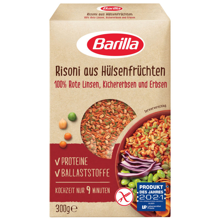 Shaped Pasta Products - Barilla Red Lentil Green Pea Risoni Pasta