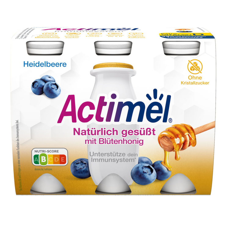 Probiotic Drinks - Actimel Honey & Blueberry 6x100g