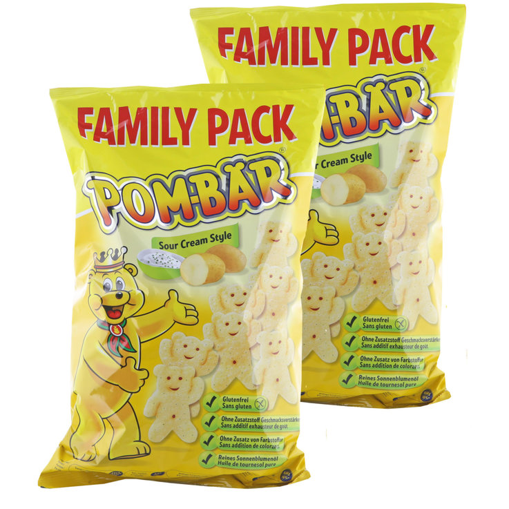 Flips & Puff-Chips - Pom-Bär XXL Sour Cream Puffed Potato Bears 2x200g